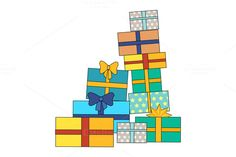 Pile of Colorful Wrapped Gift Boxes by robuart on @creativemarket