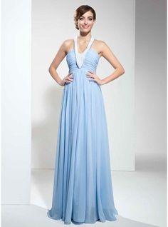 Empire Halter Floor-Length Chiffon Prom Dress With Ruffle Beading
