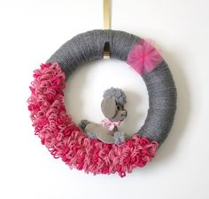 Poodle Wreath Dog Wreath Gray and Pink Wreath by TheBakersDaughter