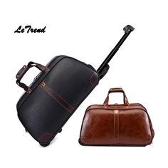 Letrend Business High-capacity Hand Travel Bag PU Leather Rolling Luggage Trolley Bag Carry On Trunk Short Journey Luggage Trolley, Trolley Bags, Luggage Bags, Leather Suitcase, Carry On Suitcase, Mens Travel Bag, Travel Bags For Women, Journey, Large Bags