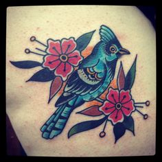 My new bluejay tattoo. Love how retro it looks!
