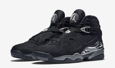 Official images and purchase information for the recently-released Air Jordan 8 Retro Black Chrome colorway, style 305381-003.