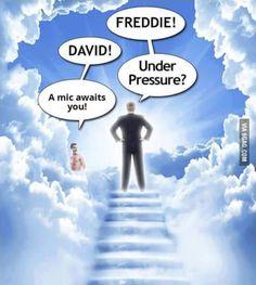 Two giants in heaven Freddie Mercury Meme, Queen Freddie Mercury, David Bowie Meme, Killer Queen, Live Rock, Rock Music, 80s Music, Rock N Roll, Music Memes