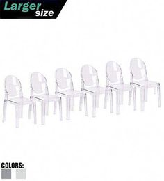 – Set of Six – Clear – Large Size – Modern Ghost Side Chair Dining Room Chair – Accent Seat – Lounge No Arms Armless Arm Less Chairs Seats Mid Century Design For Sale Dining Room Chairs, Side Chairs, Contemporary Dining Room Sets, Alpine Furniture, Accent Chairs For Sale, Sectional Sofa With Recliner, Ghost Chairs, Oversized Chair And Ottoman, Mid Century Design