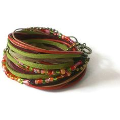 boho leather wrap bracelet ribbonleather suede beads by jcudesigns, £20.00