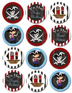 INSTANT DOWNLOAD! Pirate cupcake toppers, invitation, chalkboard, personalized, boy, ship, ahoy me mateys, ocean, pirate hat, digital design by ninavermeulen on Etsy https://www.etsy.com/listing/182960945/instant-download-pirate-cupcake-toppers