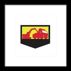 Mechanical Digger Loading Dump Truck Shield Retro Framed Print by Aloysius Patrimonio.  Illustration of a mechanical digger excavator earthmover loading a dump truck viewed from low angle set inside shield crest done in retro style. #illustration #MechanicalDiggerLoading