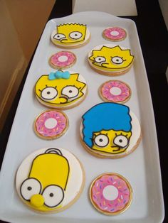 Decorated cookies at a Simpsons birthday party! See more party ideas at CatchMyParty.com!