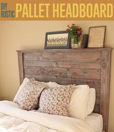How to make your own DIY pallet headboardHow do I create a pallet headboard?DIY Tutorial: DIY Headboard / DIY Pallet Headboard - Bead & Cord I think . Pallet Patio Furniture, Woodworking Furniture, Rustic Furniture, Diy Furniture, Diy Woodworking, Woodworking Techniques, Popular Woodworking, Woodworking Machinery, Furniture Stores