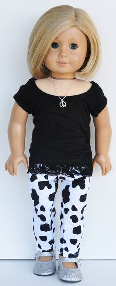 American Girl Clothes  Black Stretch Tee by LoriLizGirlsandDolls, $24.00