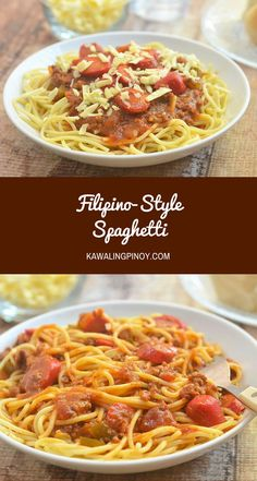 Filipino-style Spaghetti - Emma Predovic - Filipino-style Spaghetti Filipino-style spaghetti is the Pinoy's interesting take on this Italian classic. With banana ketchup and hot dogs, and topped with cheese, it's not your ordinary bolognese! Filipino Recipes, Asian Recipes, Ethnic Recipes, Pinoy Food Filipino Dishes, Pinoy Recipe, Filipino Desserts, Asian Foods, Hot Dog Spaghetti, Spaghetti Squash