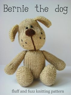 Bernie the dog toy puppy knitting pattern on Folksy