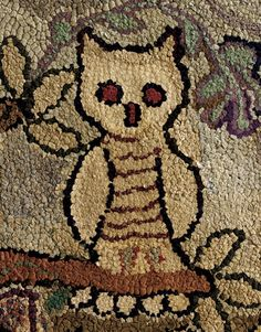 Owl Hooked Rug    When it came to creative recycling, our foremothers were a clever lot. And one enduring proof of their endeavors in this regard is their legacy of decorative hooked rugs, among them animal-themed examples.
