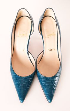 "Christian Louboutin DECOLLETE 554 Teal Crocodile Pointy Toe Pumps with a manageable 2.5"" heel."