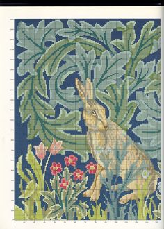 Needlepoint Rabbit, part 2..  color chart on part 3