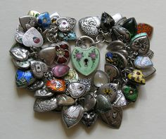 Antique and Vintage Silver and Enamel Puffy Heart Charm Bracelet
