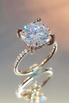 42 Most Popular And Trendy Engagement Rings For Women ❤️ engagement rings for women unique white gold cushion cut ❤️ See more: http://www.weddingforward.com/engagement-rings-for-women/ #weddingforward #wedding #bride #engagementrings