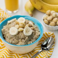 Banana Protein Oatmeal with Macadamia Nuts.  Have you ever added protein powder to your oatmeal?  I do it often after a morning workout.  Keep it plant based though!