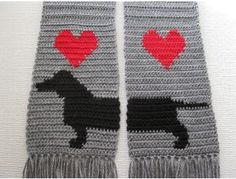 Handmade Crocheted Grey Dachshund Scarf is up for bid during the Furever Dachshund Rescue online auction going on right now til Nov 26th