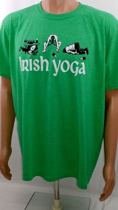 Irish Yoga T Shirt Funny Saint Patricks Day Parade Flexible Drinking Tee XL #Gildan #GraphicTee