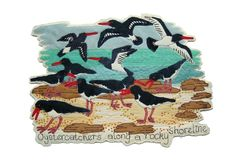 Janet Browne - Textile artist - Oystercatchers  - Dyed Calico and Stitch
