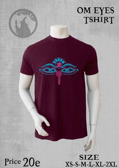 mens tshirt with print OM EYES mix colours glow-neon by PSYDRUID