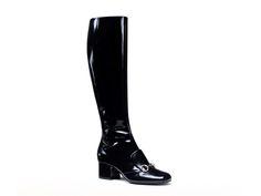 Gucci black patent leather horsebit knee high boots - Italian Boutique €805