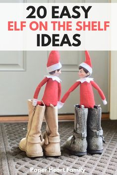 Quick Elf on the Shelf ideas for those night when you need something simple, last minute and hilarious. 20 easy and fun ideas for your elves to take the stress out of this awesome Christmas tradition.
