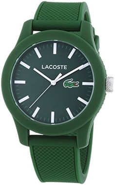 Lacoste Men's L.12.12 Green Silicone Strap Watch 2010763 ** Details can be found by clicking on the image.