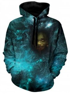 f9408b9c2 Shop for Light Sea Green 2xl Galaxy Horrible Head Print Casual Hoodie  online at  26.62 and