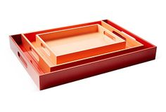 I am just obsessed with lacquer trays...obsessed! And in Orange! why would you ever need a leather tray when you can take it up a notch with these babies!