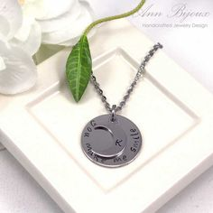 """Personalized Stainless Steel Initial Necklace, Hand Stamped Initial Jewelry, Mom Necklace, """"You make me Smile"""" Message Necklace,grandma gift by ANNBIJOUXNEWYORK on Etsy"""