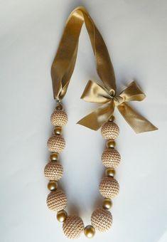 Items similar to Beige crochet necklace. Crochet Jewelry Patterns, Crochet Earrings Pattern, Crochet Bracelet, Bead Crochet, Bracelet Patterns, Bridesmaid Jewelry, Bridal Jewelry, Beaded Jewelry, Diy Accessories