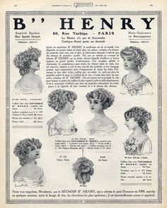 Henry (Hairstyle) 1910 Hairpieces, Postiches, Wig, Francis Durelle