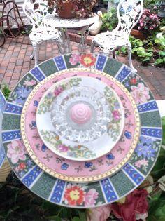 Beautiful florals.  SOLD at Galveston Island Market MiMi's Plate Flowers