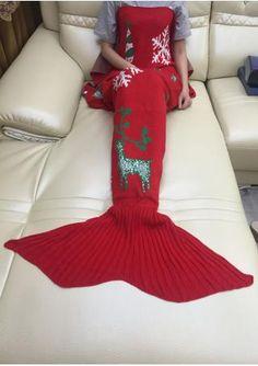 Christmas Reindeer Snowflake Mermaid Tail Blanket
