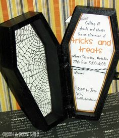 Fun Halloween party ideas! These coffin invites are so cute! Plus food, table decor ideas, crafts, games, etc.