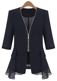 Black Plain Zipper Chiffon Blazer