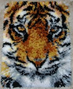 Latch hook rug  Tiger Face  acrylic handmade by FeltWicked on Etsy, $295.00