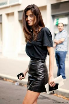 leather skirt and men t-shirt