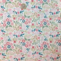 tissu - coton oiseaux turquoise