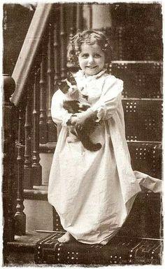 Child with kitten