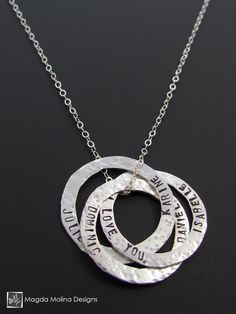 The Personalized Intertwined Hammered Silver Rings Family (or Friends) Necklace  (jewelry, women, mom, mother, gift, idea, Mother's Day, meaningful, custom, made, love, fashion, accessory, accessories, style, blogger)