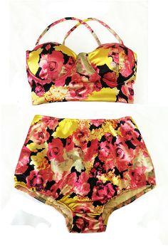 Ruby Gold Flora Top and High Waisted Waist High-waist Shorts Bottom Swimsuit Bathing suit suits wear Bikini set sets Bathsuit Swimsuite S M
