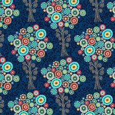 Stoff Ornamente - Makower UK Trees in Blue - ein Designerstück von DinoFabric bei DaWanda
