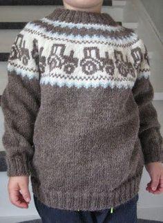 Billedresultat for mariusgenser med traktor oppskrift - My WordPress Website Fair Isle Knitting Patterns, Knit Patterns, Knitting For Kids, Hand Knitting, Crochet Baby, Knit Crochet, Knit Baby Sweaters, Sweater Set, Pulls