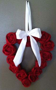 Red burlap heart wreath on Etsy, $20.00