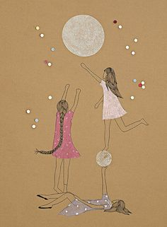 A glimpse at the moon made us young forever - original art