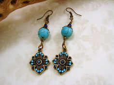Antique Brass and Magnesite Turquoise Earrings