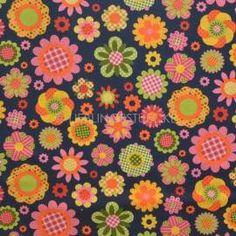 Karo- und Punkte Blüten auf dunkelblau, Webstoff, 8,90 EUR / Meter - Bild vergrößern